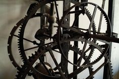 Close View Of The Large Gears Of An Old Photograph  - Close View Of The Large Gears Of An Old Fine Art Print