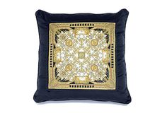 LE GRAND DOME BAROQUE Cushions - Versace Home Collection - Cuscino in seta stampata Dimensioni: 70x70 cm Colori: NERO BIANCO ORO ZCU88SVZ21777Z0001