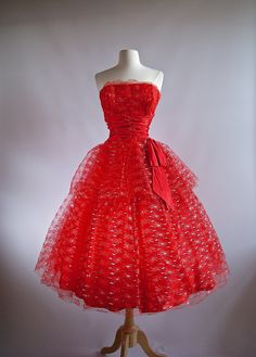 RESERVED FOR MICHELLE//Vintage 1950's Red Party by xtabayvintage