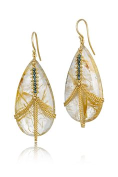 """Amali 18k yellow gold, 2"""" long tear drop shaped rutilated quartz dangles featuring draping gold chains and a strip of blue diamonds. Available at Oster Jewelers."""