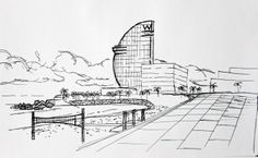 Hotel W, Barceloneta beach, Barcelona. Landscape made with pen, fast sketch.