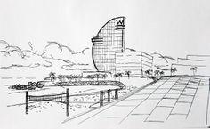 Hotel W, Barceloneta beach, Barcelona. Landscape made with pen, fast sketch.