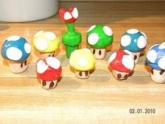 Mushroom Figurines made from clay - cake toppers maybe?