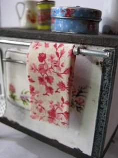 Floral Fringed Teatowel for Dollhouse.