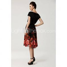 Women's Ruffle Batwing Sleeve Plus Size Stunning Print Ball Gown Dress - USD $ 31.19