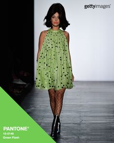 Green Flash as seen on Bella Hadid on the Jeremy Scott runway: Fashion by @gettyimages #Pantone #FashionColorReport #SS16 #NYFW