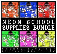 This is a selection of school supplies in 6 neon colors: red, blue, orange, yellow, green and pink.
