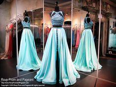 Aqua Mint Two Piece High Low-Soft Satin-Beaded Crop Top-Beaded Short Skirt-116RA070740