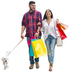 Shopping time! Smiling couple with doggie :) Image by MrCutout. #cutout #visualization #shopping #architect #couples #dog #images