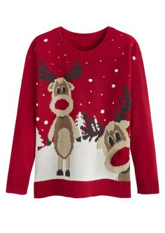 c4001c4e42d Red reindeer jumper Knitted Christmas Jumpers