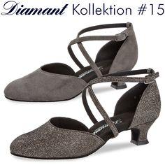 Damen Diamant Tanzschuhe 052-112-001 für breite Füße in der Farbe Schwarz
