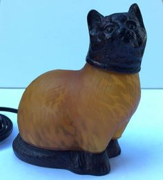 kitty cat lamp cast metal and amber glass mood lighting in Collectibles, Lamps, Lighting, Lamps: Electric | eBay