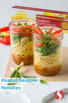 Peanut Sesame Noodles—Transform quality Signature Kitchens™ Spaghetti with Asian infusion flavor! Pack this salad in a mason jar for a simple weekday lunch solution. Peanut butter adds protein in this vegetarian salad option everyone will enjoy.