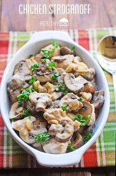 Chicken Stroganoff - succulent chicken pieces cooked in a delicious sauce of onions, mushrooms and sour cream.