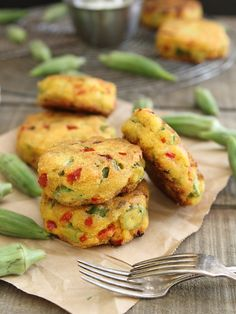 Okra Cornmeal Cakes With Cilantro Lime Yogurt Dip - I love okra. These are awesome! ~GF Cheryl~