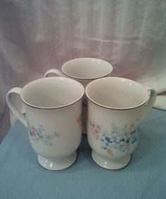 """Fanci Florals Collection """"Blue Morn Pattern"""" Footed Cups /  Mugs Set of 3  #FanciFlorals"""