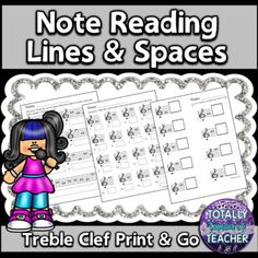 Music Worksheets: Treble clef note identification worksheets ready to print and go! TpT Digital Activity included. Students can type answers onto the worksheets. Great for distance learning and assessment of note identification for music class. Music assessment for students learning to identif...