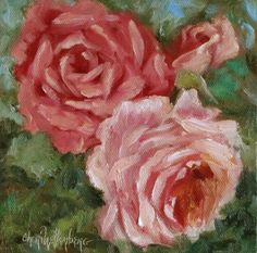 Small 6x6 Original Painting of Two Pink Roses by by ChatterBoxArt, $45.00