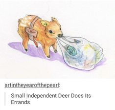 Small Independent Deer Does Its Errands Baby Animals, Funny Animals, Cute Animals, Cute Animal Drawings, Cute Drawings, Emo, Character Art, Character Design, Cute Comics
