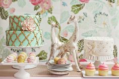 Vintage Chic Gold, Turquoise and Pink Tea Party Dessert Table  Darling Bridal Shower