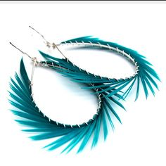Stonez n Stix - Feather hoops turquoise