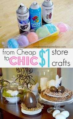 From Cheap to Chic Easter Decor - CreativeMeInspiredYou.com chocolate, faux chocolate, Easter eggs, spray paint, crafts, Easter crafts, kids crafts, home decor, holiday decor