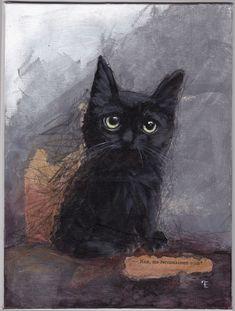 NAN - VENDU - SOLD (Peinture), cm par evafialka Original acrylic painting & collage on canvas. Cool Cats, I Love Cats, Black Cat Art, Black Cats, Black Kitty, Crazy Cat Lady, Crazy Cats, Image Chat, Art Original