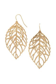 A pair of high polish drop earrings featuring cutout leaves and fish-hook backs.