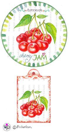 Items similar to circle jam label cherry jam label printable mason jar sticker homemade fruit labels gift tags on etsy, Jam Jar Labels, Canning Jar Labels, Jam Label, Canning Recipes, Printable Recipe Cards, Printable Labels, Free Printables, Decoupage Printables, Fruit Gifts