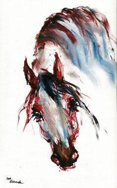 Horse Portrait Painting by Angel  Tarantella