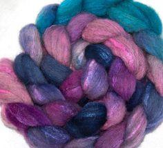 Hand dyed roving Grey Shetland Tussah Silk Hand by YummyYarnsUK