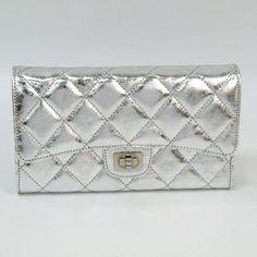 b75d3007f6e8 #chanel 2.55 A35298 Women's Aged Calf Leather Long Wallet (tri-fold) Silver
