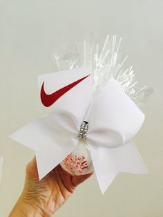 Nike swoosh Cheer Bow Bath Bomb Set Matching Peppermint Scent red and white