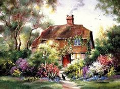 Image Detail for - Marty Bell. Cat House - house, marty bell, flower, art, kitten, cat ...