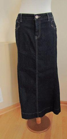 New Christopher & Banks Denim Jean Maxi Skirt 16 Modest Dark Seamed flared hem  #ChristopherBanks #Maxi