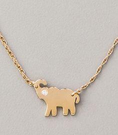Mini Elephant Necklace by Jennifer Zeuner Jewelry