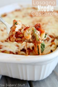 Lasagna Noodle Casserole - Lasagna just got a whole lot easier to eat! This recipe is very kid friendly! Sixsistersstuff.com