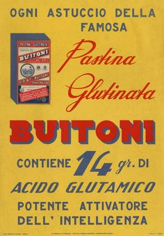 1950 - Buitoni   PASTINA GLUDINATA VINTAGE SPAGHETTI, MACARONI, PASTA ADVERTISING