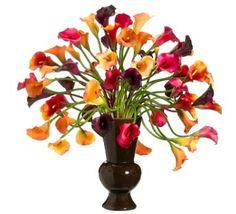 Colorful Calla Lily Silk Flower Arrangement in Urn ARWF3172