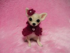 Needle Felted Cute Chihuahua Puppy with Cape and Flower Hat: Miniature Wool Felt Dog. ¥22,000, via Etsy.