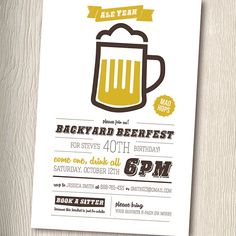 BEERFEST Beer Party Invitation for adult birthday by PaintByInvite