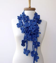 Double Mediumblue Bloom Scarf-Ready For Shipping by knittingshop