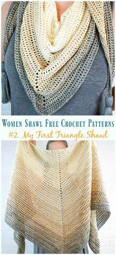 My First Triangle Shawl Crochet Free Pattern – Trendy Women Shawl My First Triangle Shawl Crochet Free Pattern – Mujeres de moda Gratis Patrones Crochet Shawl Free, Crochet Shawls And Wraps, Crochet Scarves, Crochet Clothes, Crochet Hats, Crochet Shawl Patterns, Knitting Scarves, Scarf Patterns, Triangle En Crochet