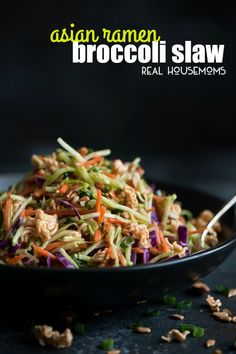 This sweet and crunchy Asian Ramen Broccoli Slaw is the perfect side for Sunday dinner or your next barbecue party!