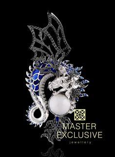 Pendant from the collection Mysticism. 18K white gold, cacholong, diamonds, black diamonds, blue sapphires, enamel.