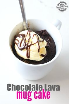 Chocolate Lava Mug Cake, a dessert that can be made in two minutes with a handful of ingredients.