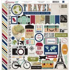 "Echo Park Getaway 12""x12"" Element Shape Stickers GA63014: Amazon.co.uk: Kitchen & Home"