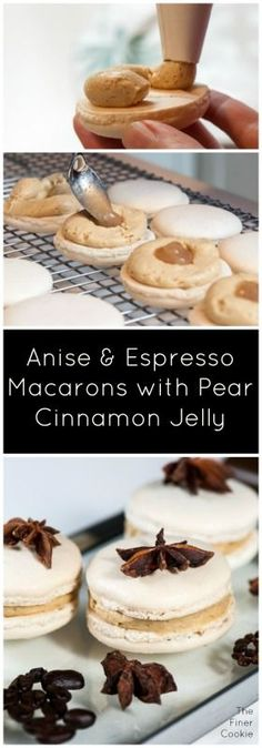 Anise & Espresso Macaron with Pear and Cinnamon Jelly combines the elegance and sophistication this macaron deserves. The Finer Cookie will show you how to finesse the macaron batter step by step. Crispy and spicy, you'll love this cookie.