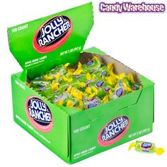 Wake up your taste buds with Untamed Fruit Flavor! Individually wrapped pieces of Green Apple flavored Jolly Rancher hard candy. Lollipop Candy, Candy Bowl, Candy Themed Bedroom, Frog Birthday Party, Birthday Cake, Jolly Rancher Hard Candy, Apple Boxes, Green Candy, Bulk Candy