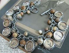 old skeleton and typewriter keys jewelry - cute charm bracelets!    greendiary.com